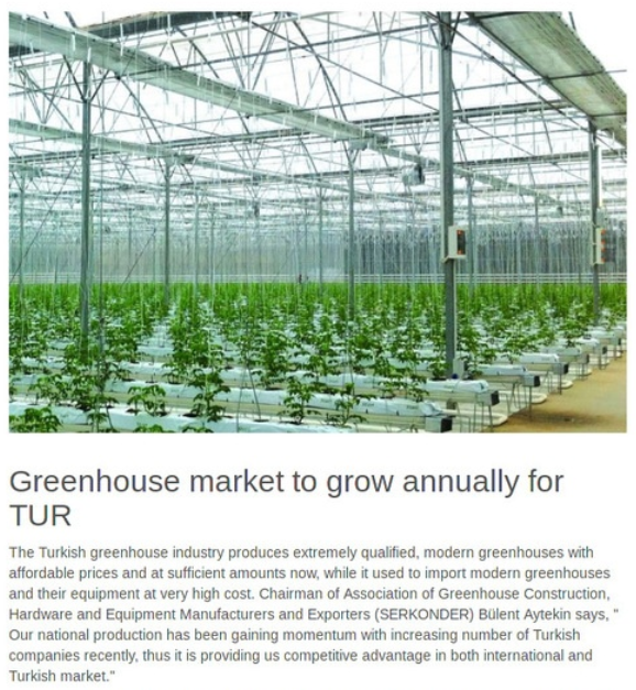 Greenhouse market to grow annually for TUR